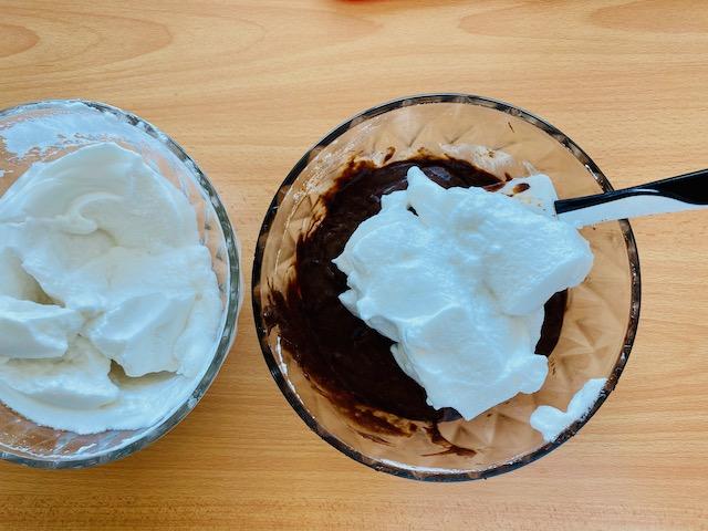 mixing meringue in parts